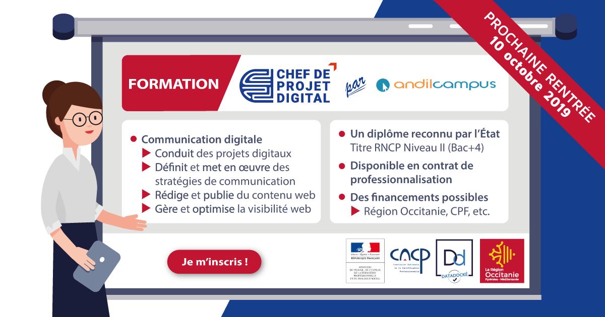 Formations Chef de projet digital spécialité Communication digitale