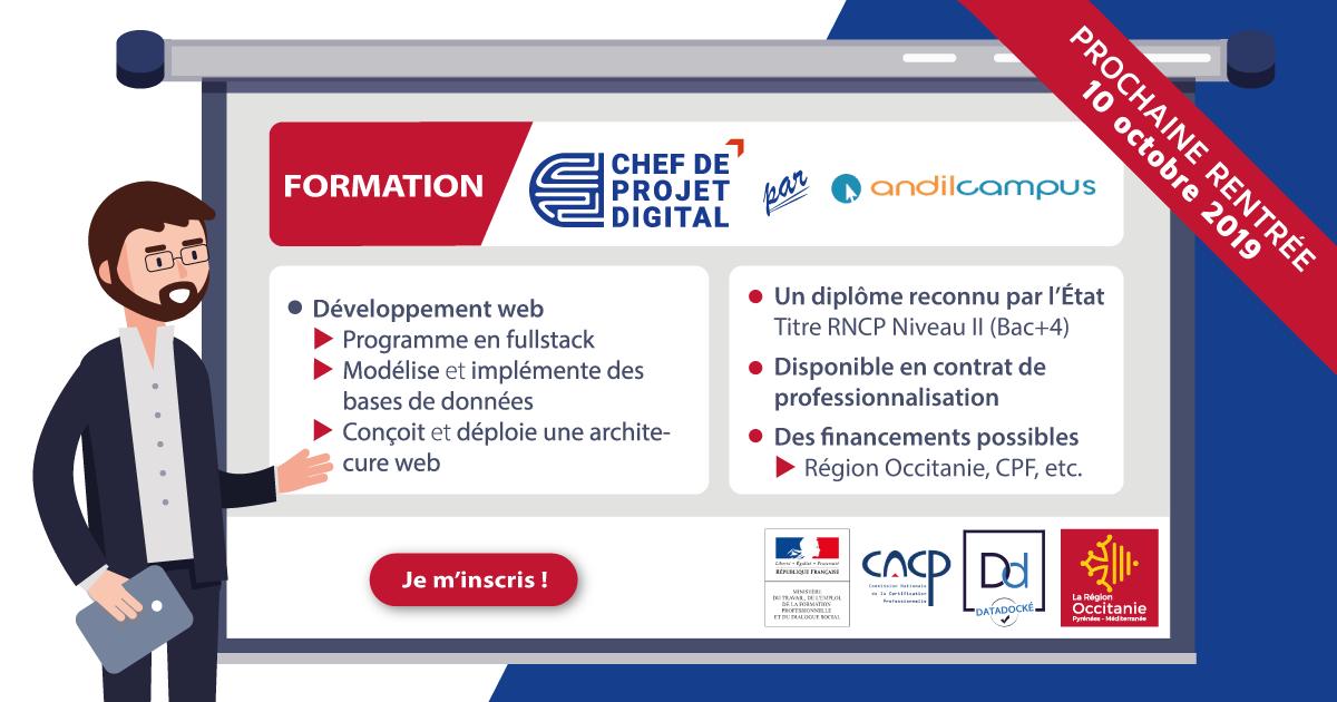 Formations Chef de projet digital spécialité Développement web
