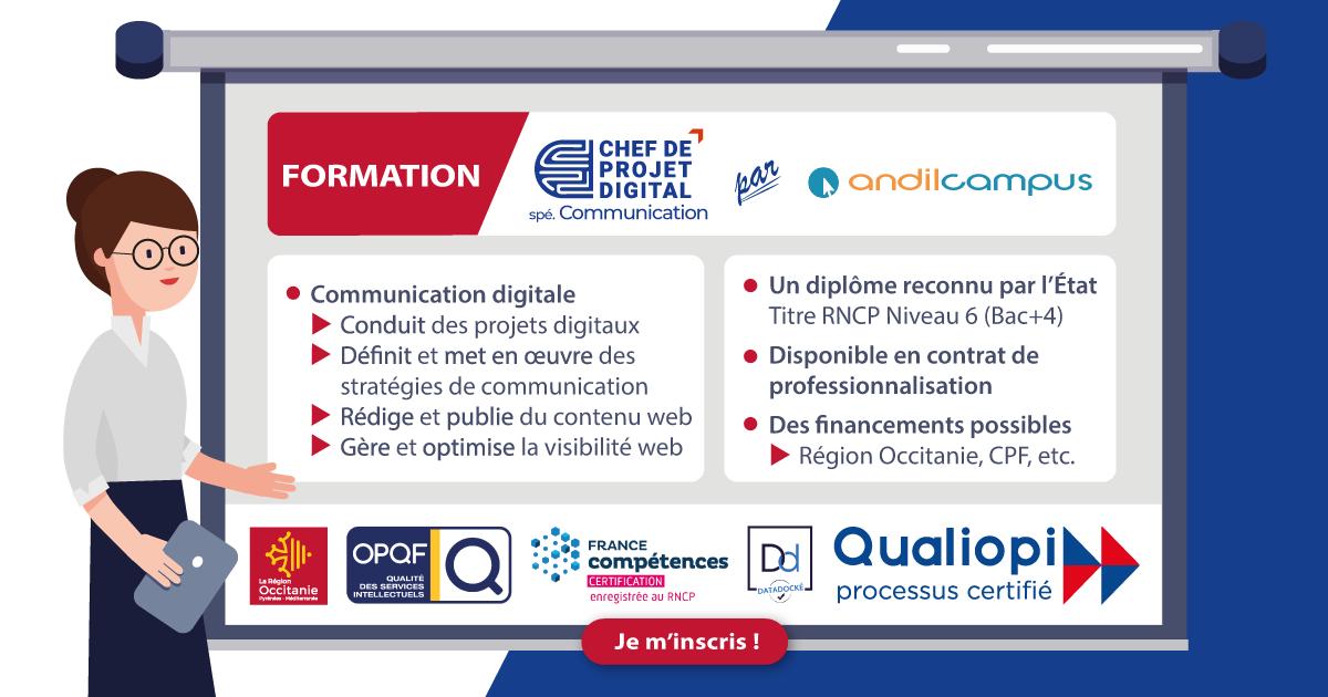 Formation Chef de projet digital spécialité Communication