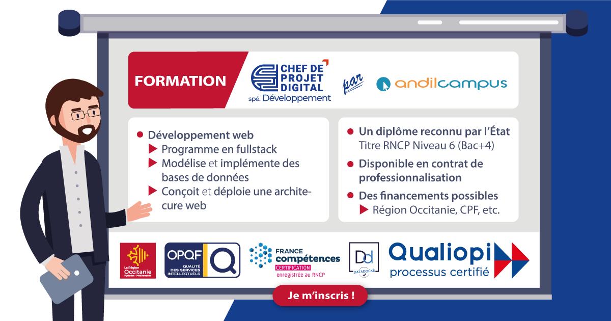 Formation Chef de projet digital spécialité Développement