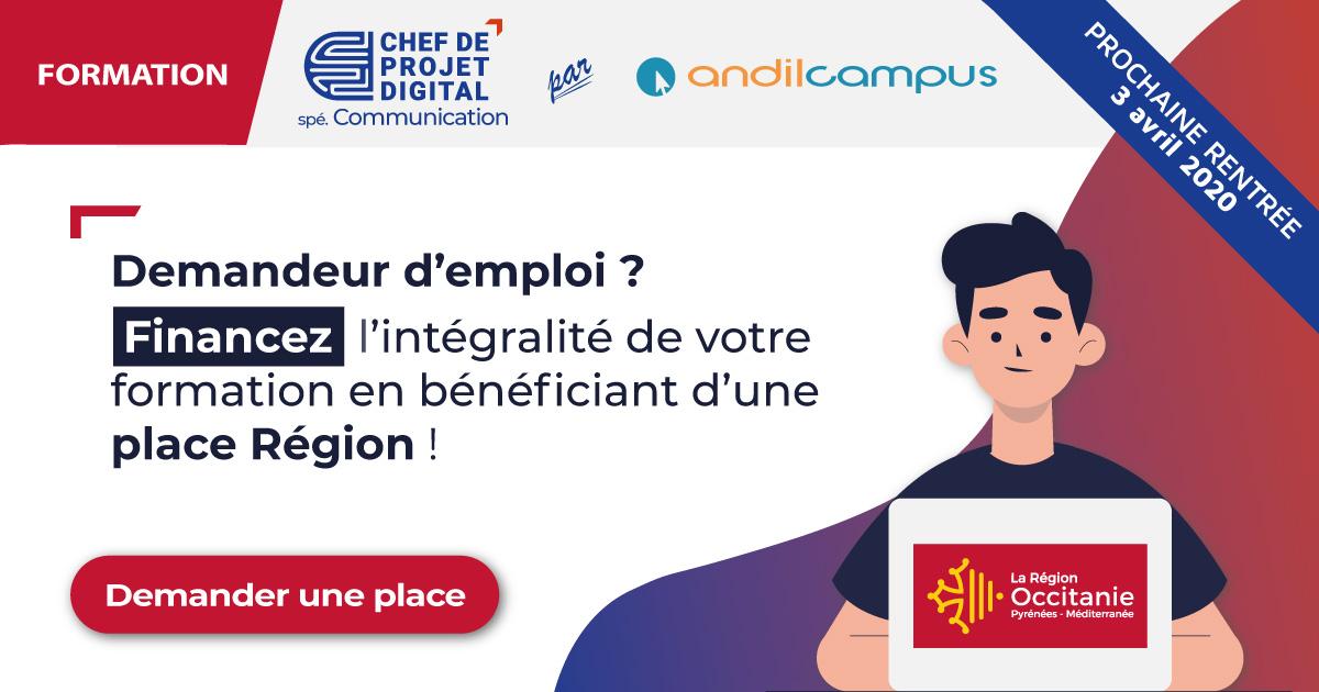 Formation Chef de projet digital spécialité Communication places Région Occitanie