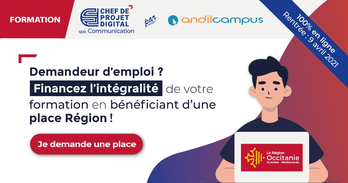 Formation Chef de projet digital spécialité Communication financement Région Occitanie